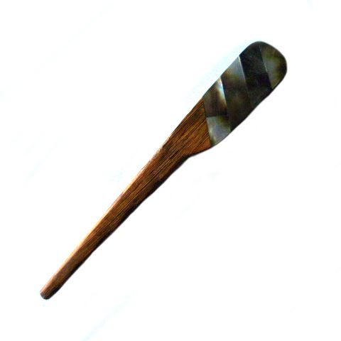 Chunky Wooden Stick Pin - tiger ebony with shell