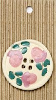 Incomparable BUTTON L516 - large painted glazed x 1