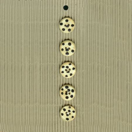 Incomparable BUTTONS - 5 black spotted