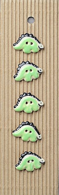 Incomparable BUTTONS  L126 -  green stegasaurus x 5