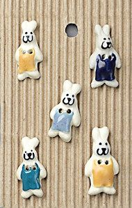 Incomparable BUTTONS L151 -  bunnies in dungarees x 5