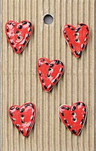 Incomparable BUTTONS  L191 -  hearts x 5