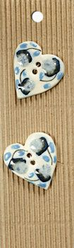 Incomparable BUTTONS L493 - blue  flowered hearts x 2