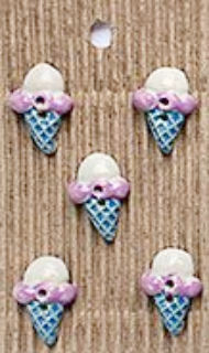 Incomparable BUTTONS L532 - ice cream cones x 5