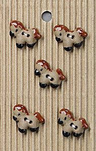 Incomparable BUTTONS  L542 - tiny brown ponies x 5