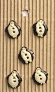 Incomparable BUTTONS  L544 -  5 tiny penguins