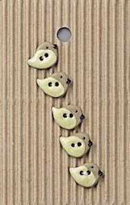 Incomparable BUTTONS  L548 - tiny cream birds x 5