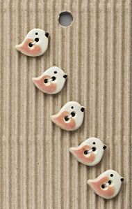 Incomparable BUTTONS  L578 -  tiny peach birds x 5
