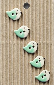 Incomparable BUTTONS  L579 -  tiny green birds x 5
