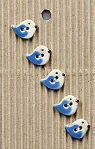 Incomparable BUTTONS  L580 -  tiny blue birds x 5