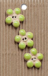 Incomparable BUTTONS L595 - flower buttons lime x 3 (2)