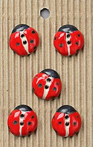 Incomparable BUTTONS  L6 -  red ladybirds x 5