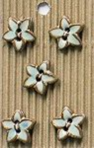 Incomparable BUTTONS  L605 -  aqua glazed stars x 5