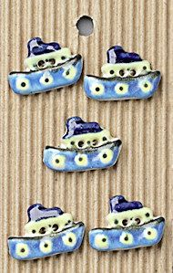 Incomparable BUTTONS L77 -  blue tugboats x 5