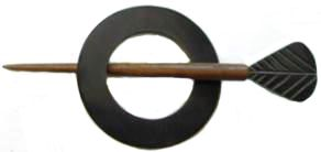 Indian Shawl Pin - round black  dart pin