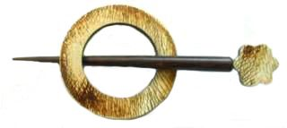 Indian Shawl Pin - round grainy pattern  flower detail