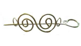 Indian Shawl Pin - silver metal  scroll