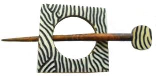 Large Indian Shawl Pin - square  black & white
