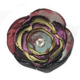 Silk Flower Brooch - green/purple
