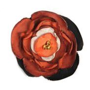 Silk Flower Brooch - orange/brown