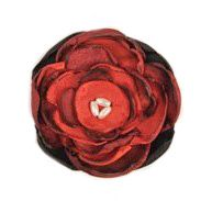 Silk Flower Brooch - red