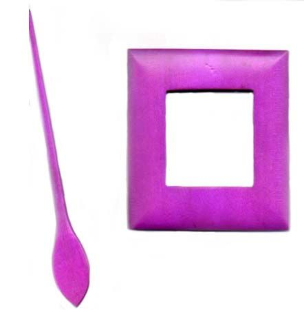 Wooden Shawl Pin - Fuchsia pink rectangle