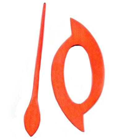 Wooden Shawl Pin - Orange oval