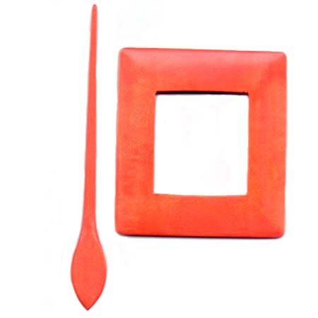 Wooden Shawl Pin - Orange rectangle