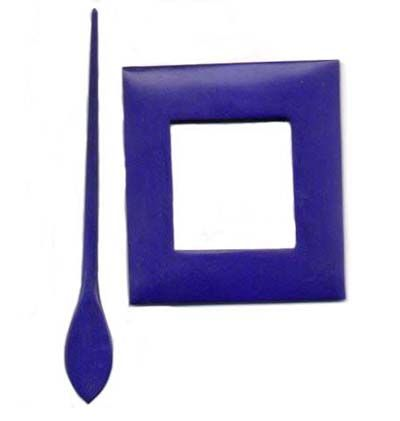 Wooden Shawl Pin - Violet rectangle